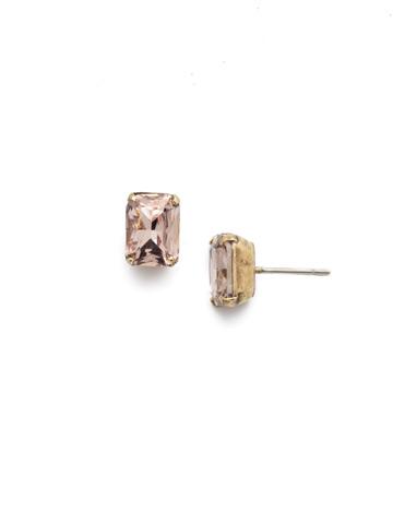 Mini Emerald Cut Stud Earring in Antique Gold-tone Vintage Rose