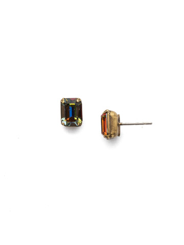 Mini Emerald Cut Stud Earring in Antique Gold-tone Volcano