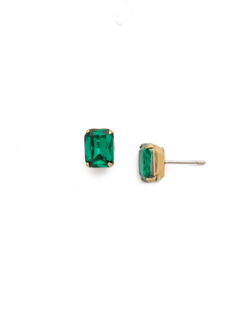 Mini Emerald Cut Stud Earring in Antique Gold-tone Wild Fern