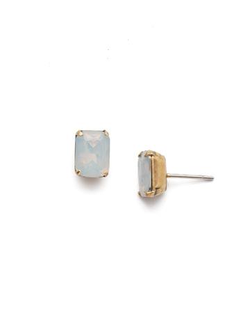 Mini Emerald Cut Stud Earring in Antique Gold-tone White Opal