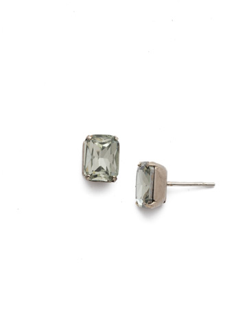 Mini Emerald Cut Stud Earring in Antique Silver-tone Black Diamond