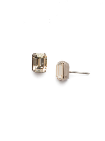 Mini Emerald Cut Stud Earring in Antique Silver-tone Crystal Champagne