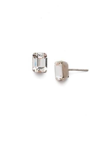 Mini Emerald Cut Stud Earring in Antique Silver-tone Crystal