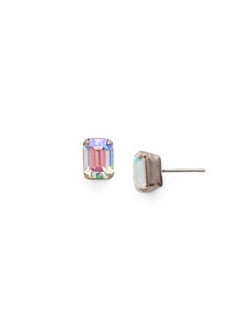 Mini Emerald Cut Stud Earring in Antique Silver-tone Glacier