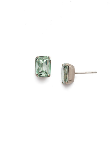 Mini Emerald Cut Stud Earring in Antique Silver-tone Mint