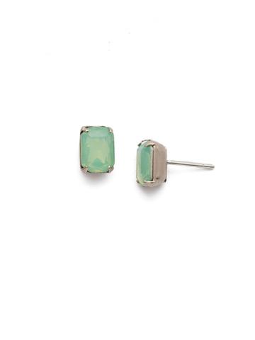 Mini Emerald Cut Stud Earring in Antique Silver-tone Pacific Opal