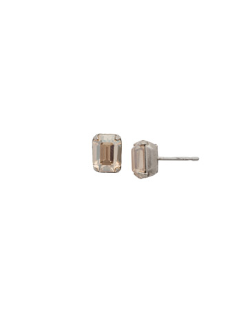 Mini Emerald Cut Stud Earring in Antique Silver-tone Satin Blush