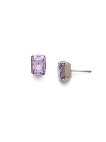 Mini Emerald Cut Stud Earring in Antique Silver-tone Violet