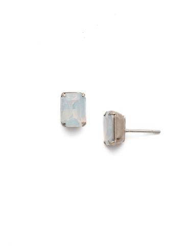 Mini Emerald Cut Stud Earring in Antique Silver-tone White Opal