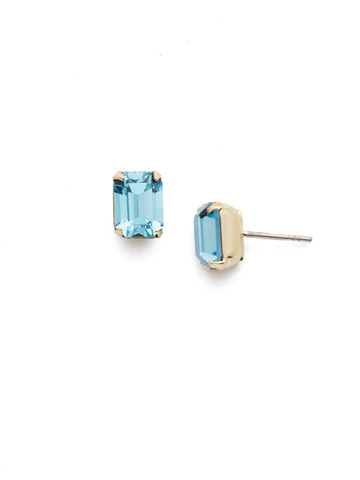 Mini Emerald Cut Stud Earring in Bright Gold-tone Aquamarine