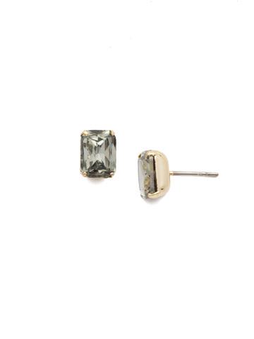 Mini Emerald Cut Stud Earring in Bright Gold-tone Black Diamond