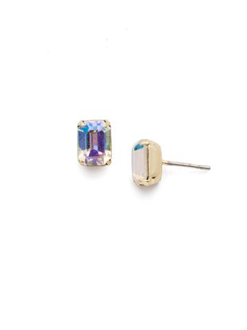Mini Emerald Cut Stud Earring in Bright Gold-tone Crystal Aurora Borealis