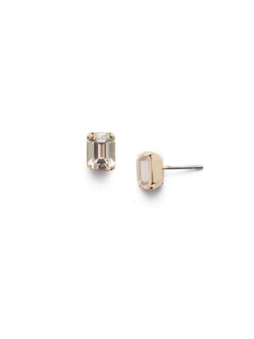 Mini Emerald Cut Stud Earring in Bright Gold-tone Crystal Champagne