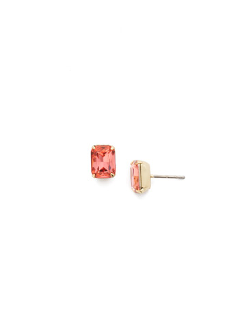 Mini Emerald Cut Stud Earring in Bright Gold-tone Coral