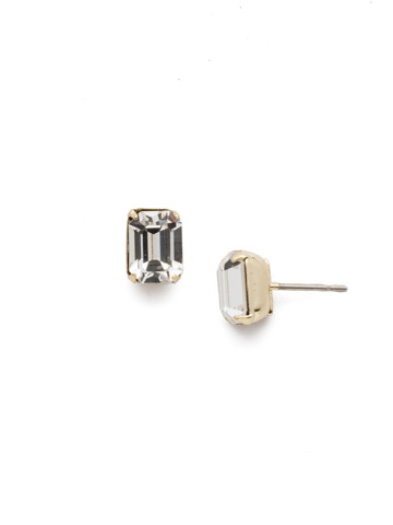 Mini Emerald Cut Stud Earring in Bright Gold-tone Crystal
