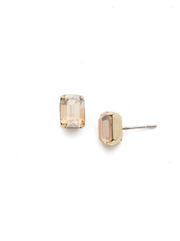 Mini Emerald Cut Stud Earring in Bright Gold-tone Dark Champagne