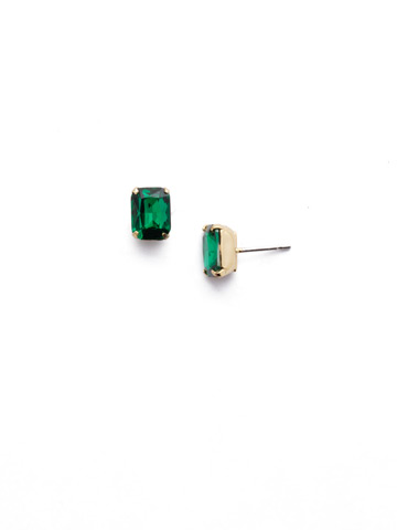 Mini Emerald Cut Stud Earring in Bright Gold-tone Emerald