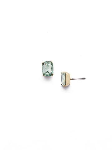 Mini Emerald Cut Stud Earring in Bright Gold-tone Mint