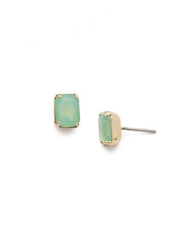 Mini Emerald Cut Stud Earring in Bright Gold-tone Pacific Opal