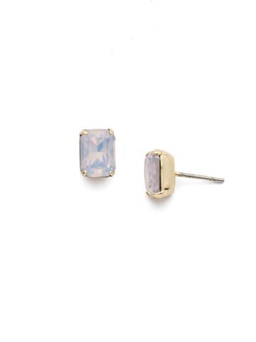 Mini Emerald Cut Stud Earring in Bright Gold-tone Rose Water