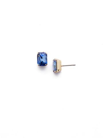Mini Emerald Cut Stud Earring in Bright Gold-tone Sapphire