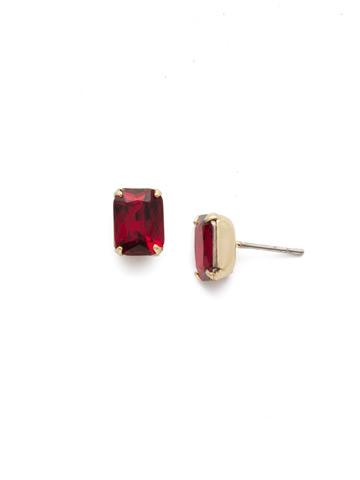 Mini Emerald Cut Stud Earring in Bright Gold-tone Siam