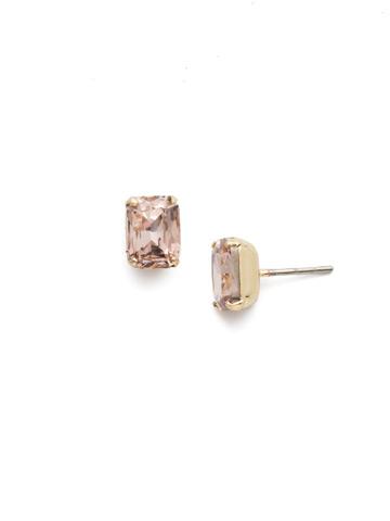 Mini Emerald Cut Stud Earring in Bright Gold-tone Vintage Rose