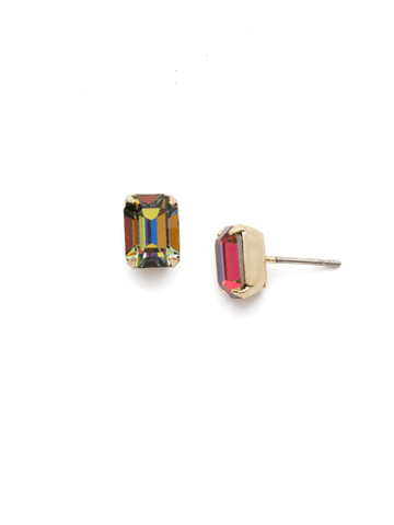 Mini Emerald Cut Stud Earring in Bright Gold-tone Volcano
