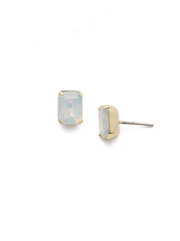 Mini Emerald Cut Stud Earring in Bright Gold-tone White Opal