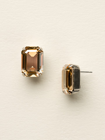 Everyday Emerald-Cut Stud in Antique Silver-tone Golden Shadow