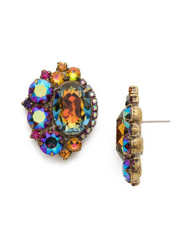 Bold Asymmetric Crystal Earring with Oval Center in Antique Gold-tone Volcano