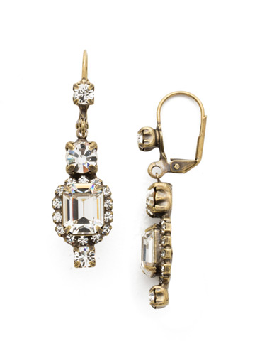 Classic Drop Earring in Antique Gold-tone Crystal