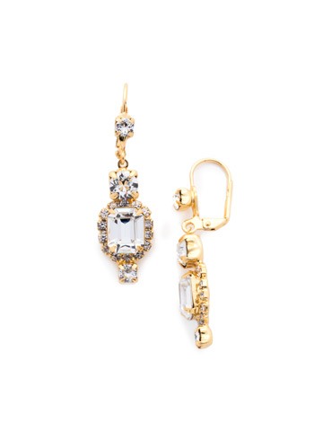Classic Drop Earring in Bright Gold-tone Crystal