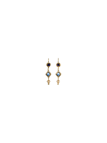 Linear Earring with Irregular Crystal Drop in Bright Gold-tone Lapis