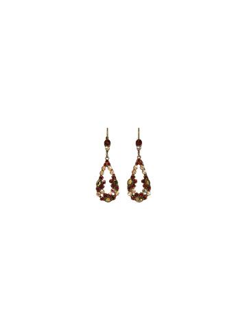Floral Teardrop Earring in Antique Gold-tone Go Garnet