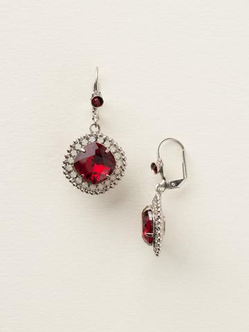 Cushion Cut Drop Earring in Antique Silver-tone Crimson Pride