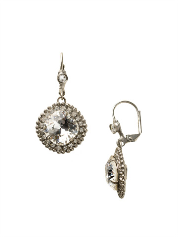 Cushion Cut Drop Earring in Antique Silver-tone Crystal