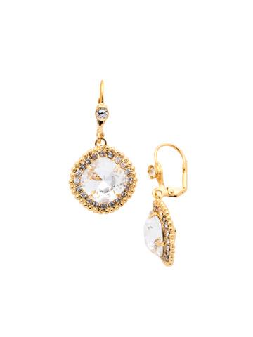 Cushion Cut Drop Earring in Bright Gold-tone Crystal