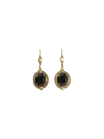 Elegant Crystal Oval Drop Earrings in Antique Gold-tone Evening Moon