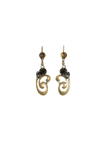 Ornate Scroll Work Earrings With Crystal Accents in Antique Gold-tone Evening Moon