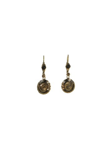 Shell Inspired Petite Drop Earrings with Crystal Accents in Antique Gold-tone Evening Moon