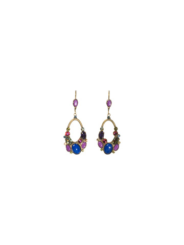 Looped Cluster Dangle Earring in Antique Gold-tone Aurora Sky