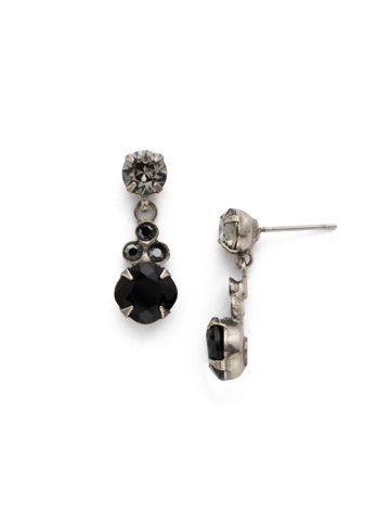 Classic Clover Earring in Antique Silver-tone Black Onyx