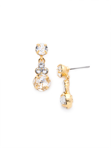 Classic Clover Earring in Bright Gold-tone Crystal