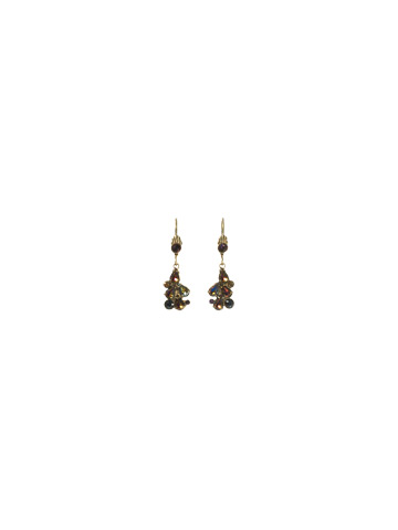 Crystal Cluster Drop Earring in Antique Gold-tone Aurora Sky