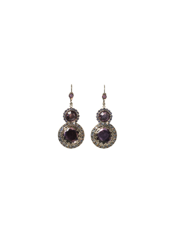 Double Circle with Rhinestone Edging Drop Earring in Antique Silver-tone Violet Eyes