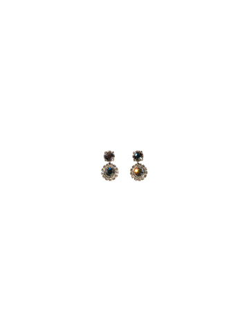 Break Out The Bubbly Crystal Post Earring in Antique Silver-tone Snow Bunny