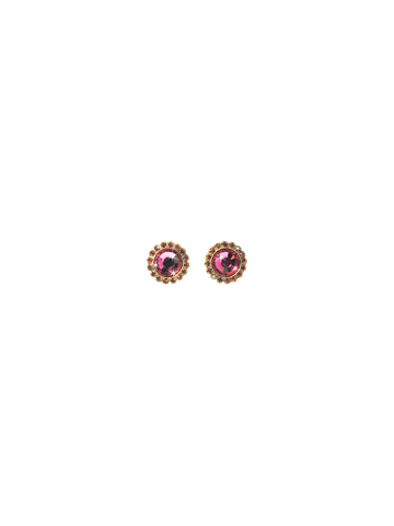 Circular Stud Earring with Rhinestone Edging in Antique Gold-tone Pink Orchid