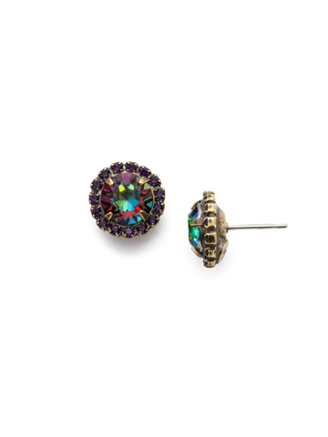 Circular Stud Earring with Rhinestone Edging in Antique Gold-tone Volcano
