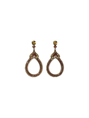 Antique-Influenced Hollow Drop Earring in Antique Gold-tone Go Garnet